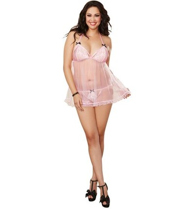 Mesh Babydoll & G-String Queen Size Pink