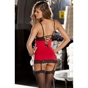 Hollywood Chemise W/g String Red S/m (net)