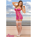 Exposed Chemise & G-String Panty Set Pink Large