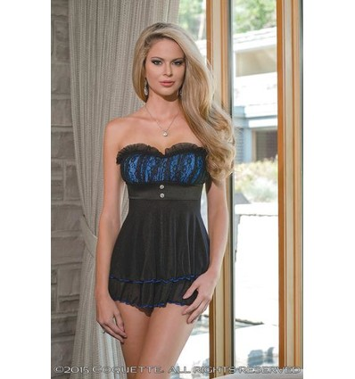 Babydoll G-String Black/Blue Large